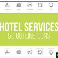 پروژه آماده افترافکت ۵۰ آیکون در زمینه خدمات هتل