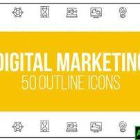 پروژه آماده افترافکت ۵۰ آیکون متحرک در زمینه بازاریابی دیجیتال