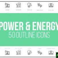 پروژه آماده افترافکت 50 آیکون متحرک در زمینه نیرو و انرژی