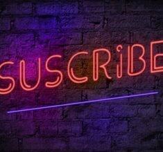 ویدیو فوتیج نوشته نئون subscribe