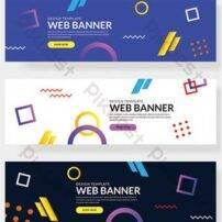 مجموعه ممفیس از بنرهای وب سایت با عناصر هندسی متنوع در رنگ های خالص