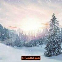 ویدیو فوتیج بارش برف در کوهستان زیبا