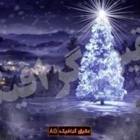ویدیو-فوتیج-درخت-کریسمس-همراه-با-بارش-برف