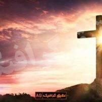 ویدیو فوتیج نشان صلیب همراه با غروب خورشید