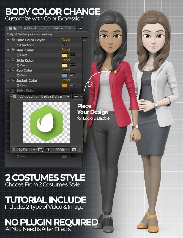 پروژه آماده افترافکت ارائه با مجری کارتونی در لباس اداری