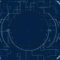 ویدیو فوتیج زمینه خط دایره های Hi-Tech با الگوی انتزاعی دیجیتال