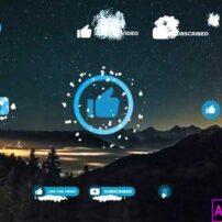 پروژه آماده پریمیر دکمه سابسکرایب شبکه اجتماعی با تم برف